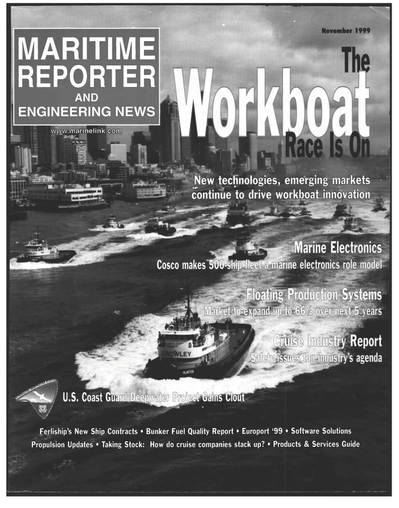 Cover of November 1999 issue of Maritime Reporter and Engineering News Magazine