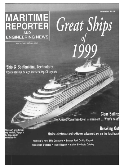 Cover of December 1999 issue of Maritime Reporter and Engineering News Magazine