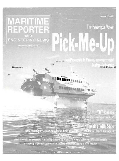 Cover of January 2000 issue of Maritime Reporter and Engineering News Magazine