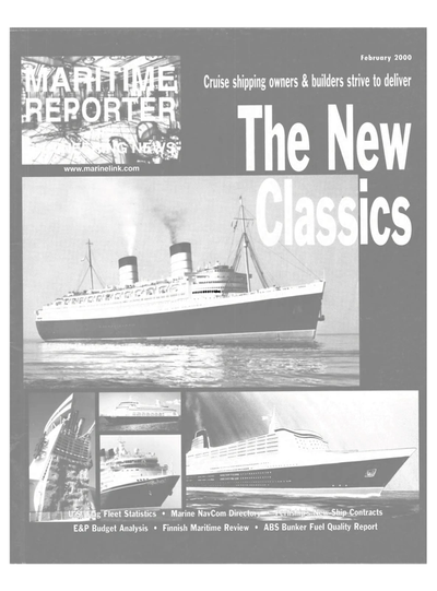 Cover of February 2000 issue of Maritime Reporter and Engineering News Magazine