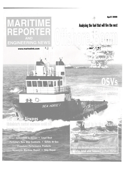 Cover of April 2000 issue of Maritime Reporter and Engineering News Magazine