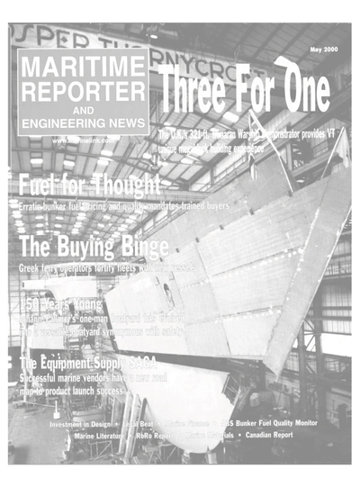 Cover of May 2000 issue of Maritime Reporter and Engineering News Magazine