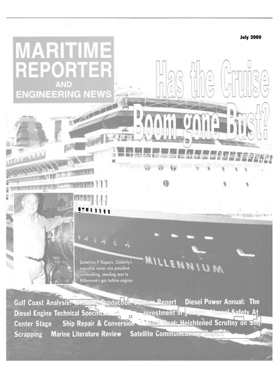 Cover of July 2000 issue of Maritime Reporter and Engineering News Magazine