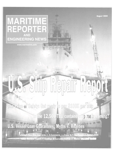 Cover of August 2000 issue of Maritime Reporter and Engineering News Magazine