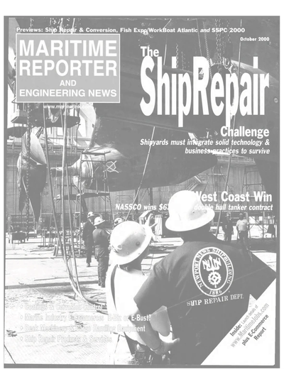 Cover of October 2000 issue of Maritime Reporter and Engineering News Magazine