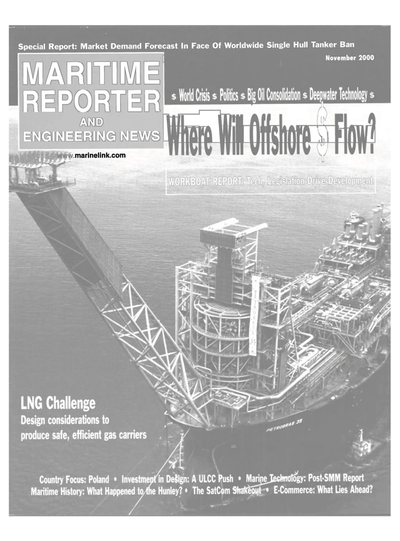 Cover of November 2000 issue of Maritime Reporter and Engineering News Magazine