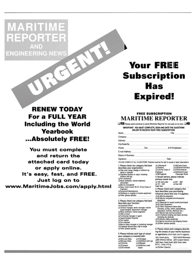 Cover of December 2000 issue of Maritime Reporter and Engineering News Magazine