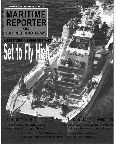 Cover of January 2001 issue of Maritime Reporter and Engineering News Magazine