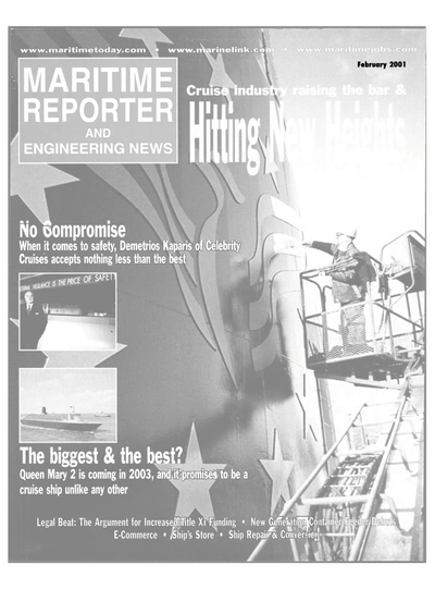 Cover of February 2001 issue of Maritime Reporter and Engineering News Magazine