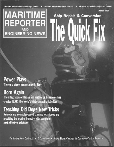 Cover of March 2001 issue of Maritime Reporter and Engineering News Magazine