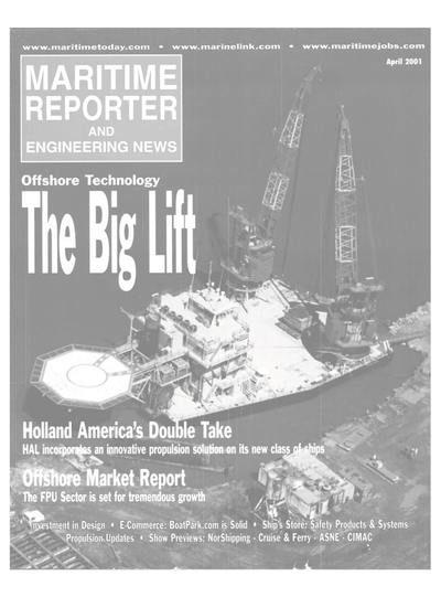 Cover of April 2001 issue of Maritime Reporter and Engineering News Magazine