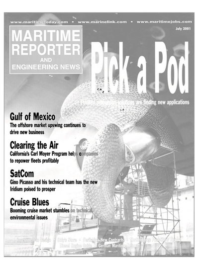 Cover of July 2001 issue of Maritime Reporter and Engineering News Magazine