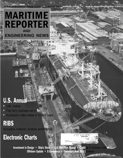 Cover of August 2001 issue of Maritime Reporter and Engineering News Magazine