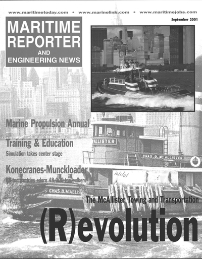 Cover of September 2001 issue of Maritime Reporter and Engineering News Magazine