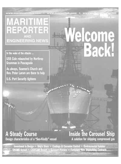 Cover of October 2001 issue of Maritime Reporter and Engineering News Magazine