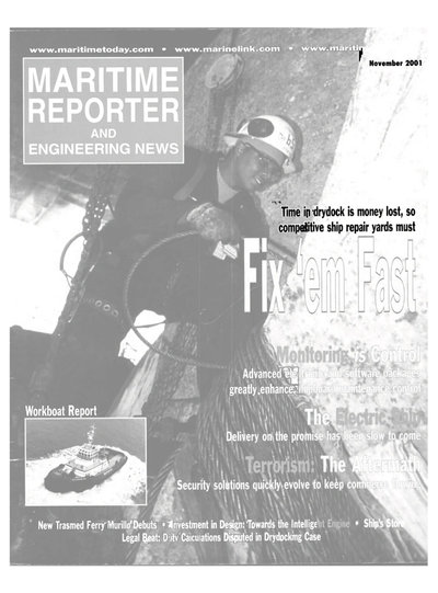 Cover of November 2001 issue of Maritime Reporter and Engineering News Magazine