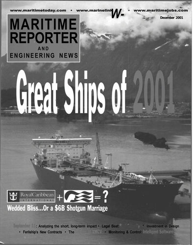 Cover of December 2001 issue of Maritime Reporter and Engineering News Magazine