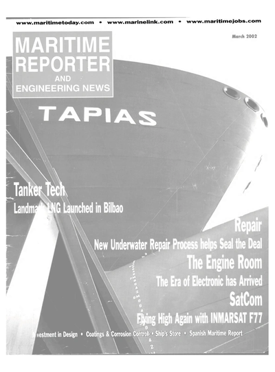 Cover of March 2002 issue of Maritime Reporter and Engineering News Magazine