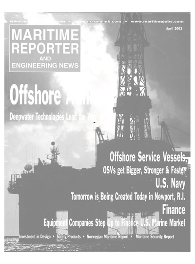Cover of April 2002 issue of Maritime Reporter and Engineering News Magazine