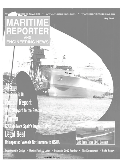 Cover of May 2002 issue of Maritime Reporter and Engineering News Magazine