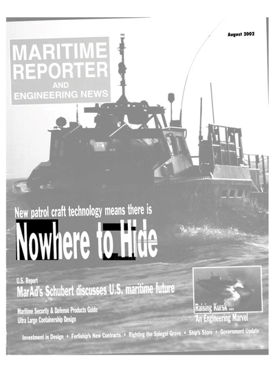 Cover of August 2002 issue of Maritime Reporter and Engineering News Magazine