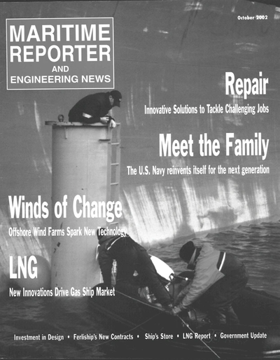 Cover of October 2002 issue of Maritime Reporter and Engineering News Magazine