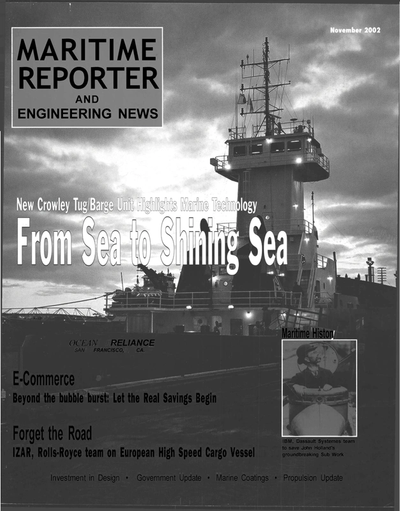 Cover of November 2002 issue of Maritime Reporter and Engineering News Magazine