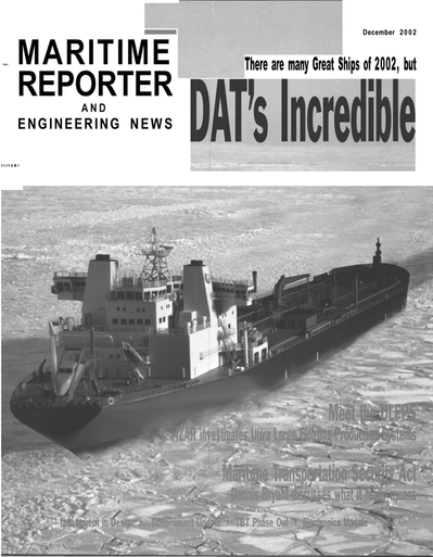 Cover of December 2002 issue of Maritime Reporter and Engineering News Magazine