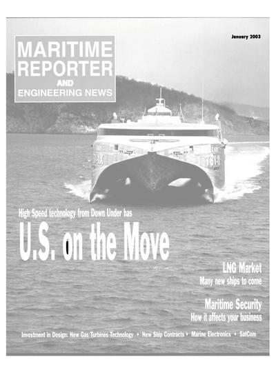 Cover of January 2003 issue of Maritime Reporter and Engineering News Magazine