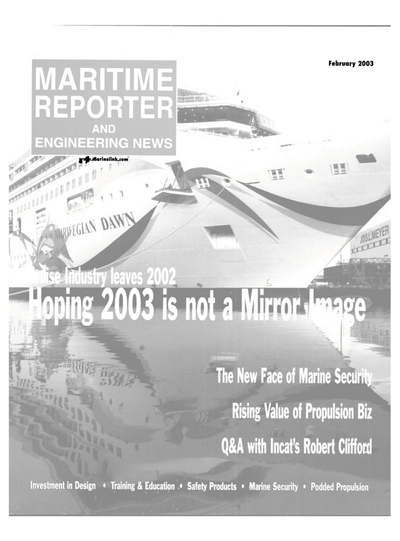 Cover of February 2003 issue of Maritime Reporter and Engineering News Magazine