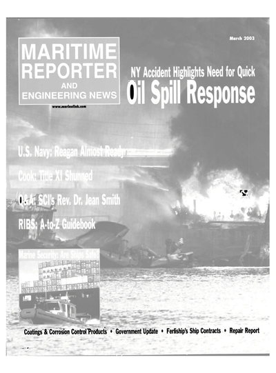 Cover of March 2003 issue of Maritime Reporter and Engineering News Magazine