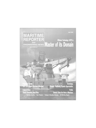 Cover of April 2003 issue of Maritime Reporter and Engineering News Magazine