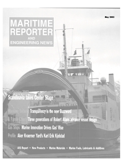 Cover of May 2003 issue of Maritime Reporter and Engineering News Magazine