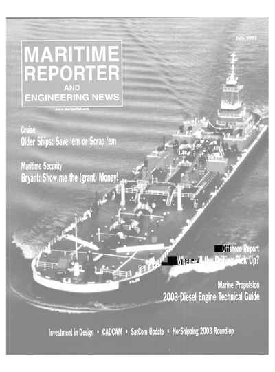 Cover of July 2003 issue of Maritime Reporter and Engineering News Magazine
