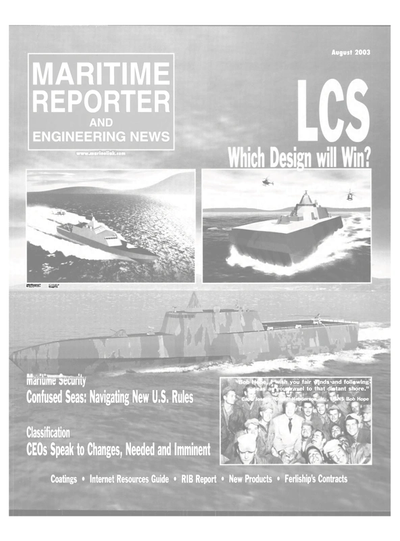 Cover of August 2003 issue of Maritime Reporter and Engineering News Magazine