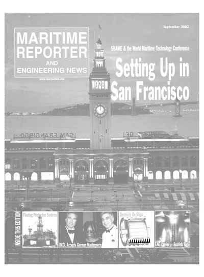Cover of September 2003 issue of Maritime Reporter and Engineering News Magazine