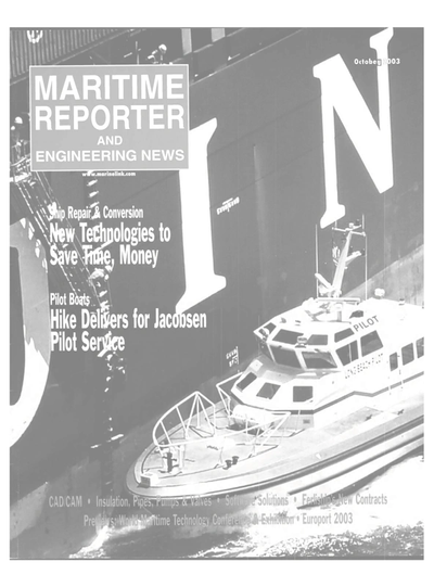 Cover of October 2003 issue of Maritime Reporter and Engineering News Magazine
