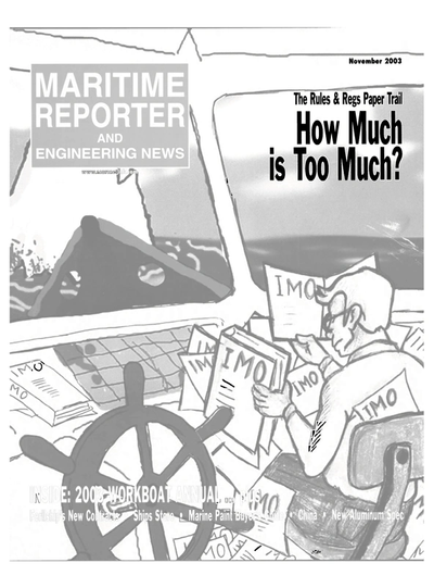 Cover of November 2003 issue of Maritime Reporter and Engineering News Magazine