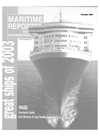Cover of December 2003 issue of Maritime Reporter and Engineering News Magazine