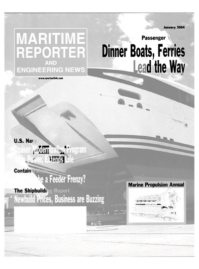 Cover of January 2004 issue of Maritime Reporter and Engineering News Magazine