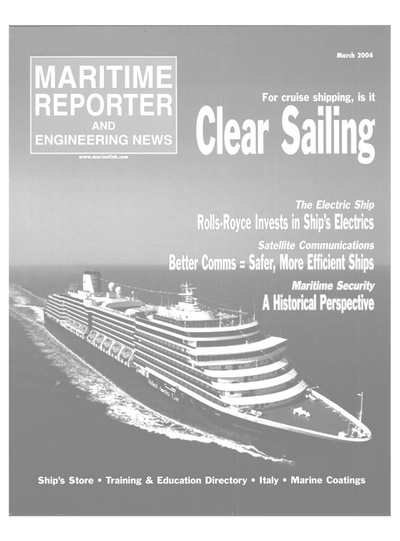 Cover of March 2004 issue of Maritime Reporter and Engineering News Magazine
