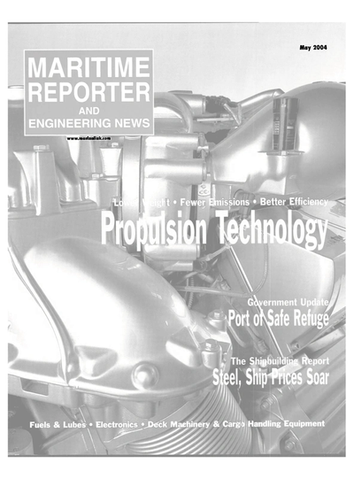 Cover of May 2004 issue of Maritime Reporter and Engineering News Magazine