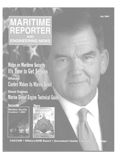 Cover of July 2004 issue of Maritime Reporter and Engineering News Magazine