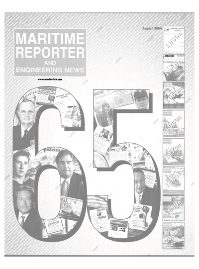 Cover of August 2004 issue of Maritime Reporter and Engineering News Magazine