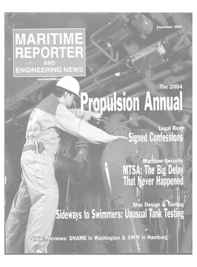Cover of September 2004 issue of Maritime Reporter and Engineering News Magazine