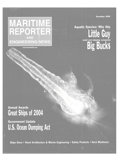 Cover of December 2004 issue of Maritime Reporter and Engineering News Magazine
