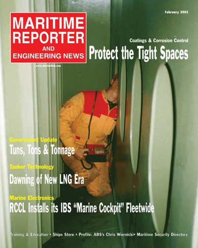 Cover of February 2, 2005 issue of Maritime Reporter and Engineering News Magazine