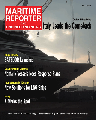 Cover of March 2, 2005 issue of Maritime Reporter and Engineering News Magazine