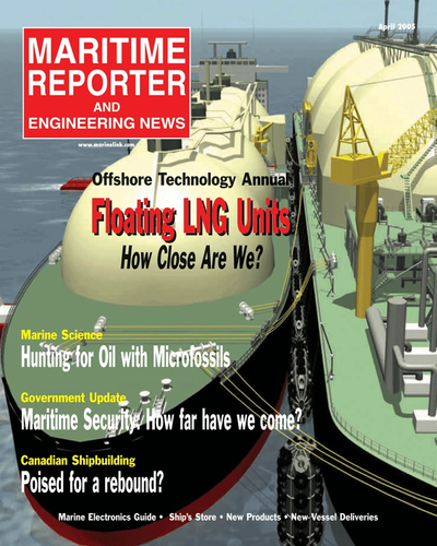 Cover of April 2005 issue of Maritime Reporter and Engineering News Magazine