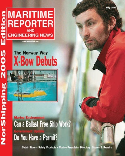 Cover of May 2005 issue of Maritime Reporter and Engineering News Magazine
